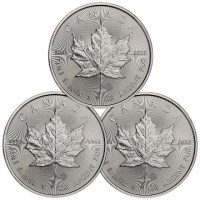 3 x 1 Unze Silber 999 -5 CAD- *Maple Leaf* 2019